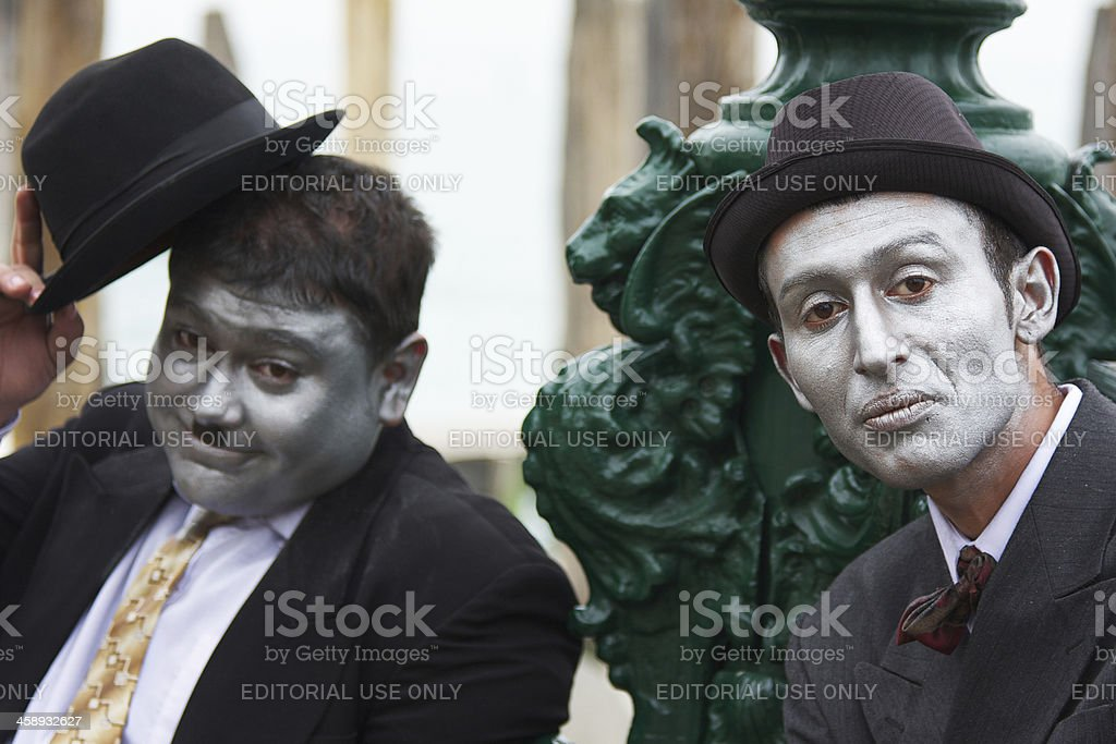 Lauren and Hardy masks at 2012 Venice Carnival royalty-free stock photo