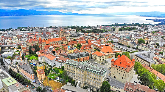 Lausanne aerial view with historical landmarks