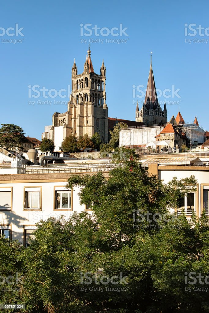 Lausanne Cathedral of Notre Dame Switzerland stock photo
