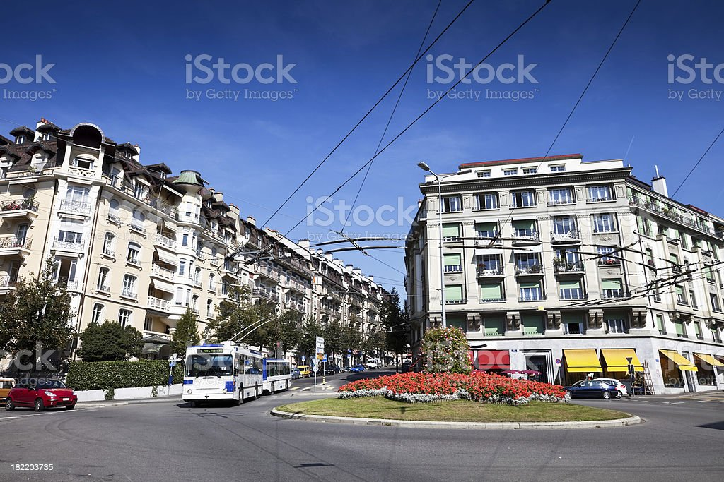 Lausanne City Street and Roundabout royalty-free stock photo