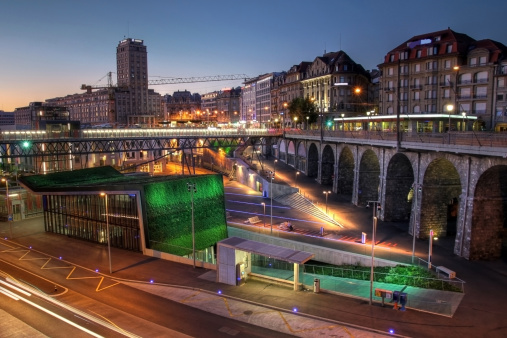 Lausanne Flon At Twilight Switzerland Stock Photo - Download Image Now