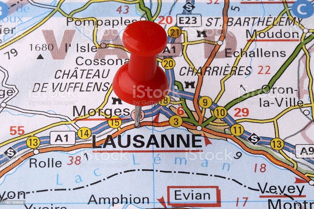 Lausanne On A Map Stock Photo More Pictures of Business Travel