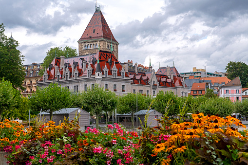 Lausanne Ouchy waterfront, Switzerland