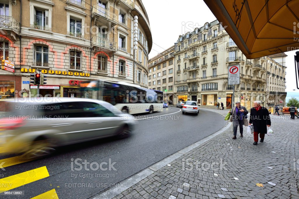 Lausanne's Old Town and City Traffic, Switzerland royalty-free stock photo