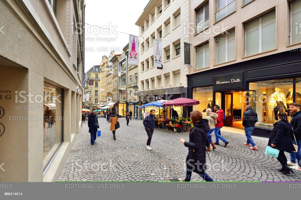 Lausanne's Old Town and Walking Street, Switzerland royalty-free stock photo