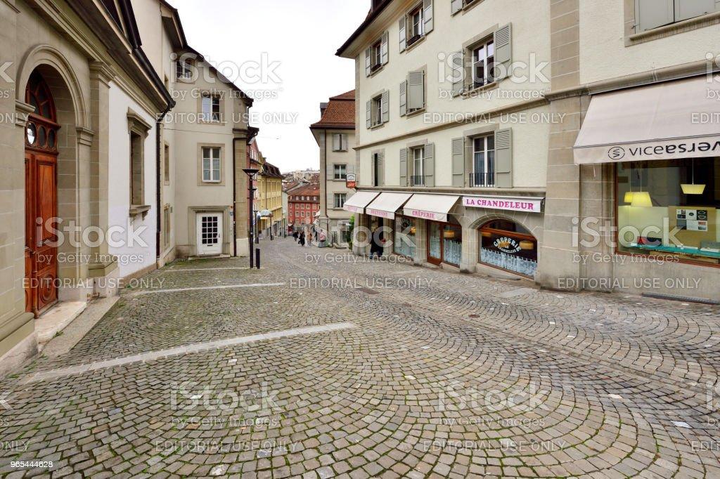 Vieille ville de Lausanne et de Walking Street, Suisse - Photo de Affaires libre de droits