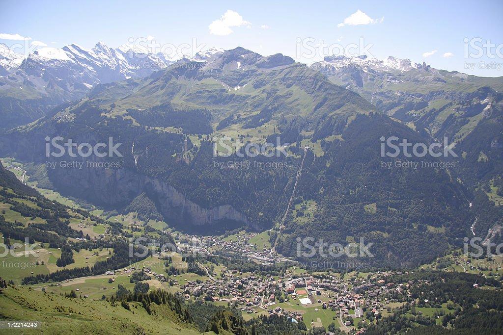 Lauterbrunnen and Wengen view from Männlichen royalty-free stock photo
