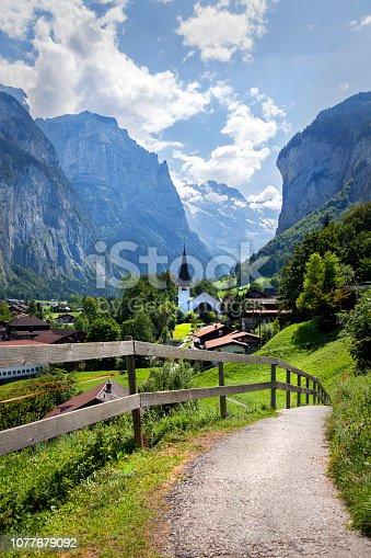 The valley in Lauterbrunnen, beautiful Swiss scenery