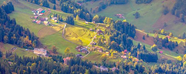 Lauterbrunnen valley aerial view, Switzerland stock photo