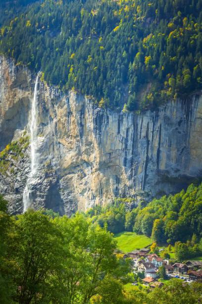 Lauterbrunnen waterfall, Staubbach, Switzerland stock photo