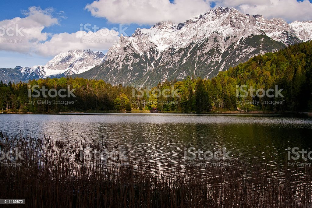 Lautersee lake and snowy Karwendel mountain range in Bavaria stock photo