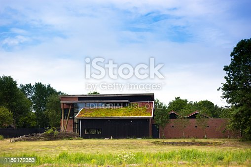 Lauwersoog, Groningen, Netherlands: An eco-friendly house with a living roof in Lauwersoog, a town on the north coast of Holland.