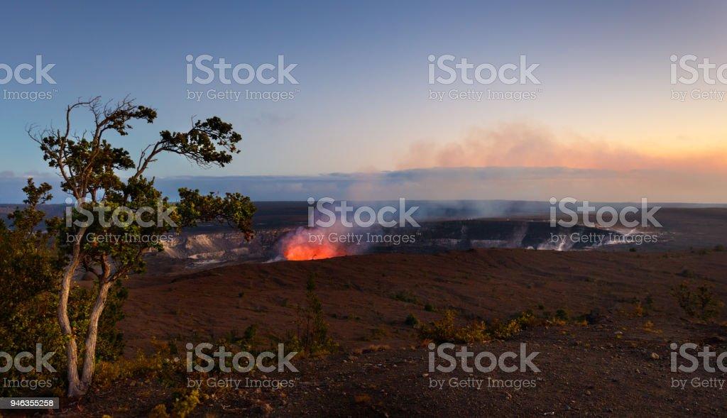 Lava Activity in Halema'uma'u Crater, Kilauea, Hawaii in Volcanoes National Park stock photo