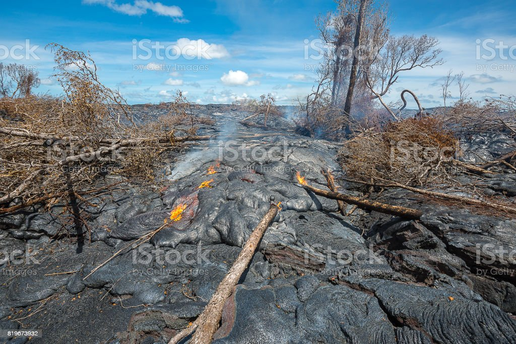 Lava destroy forest in Hawaii stock photo