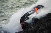 Lava Dripping into the Sea
