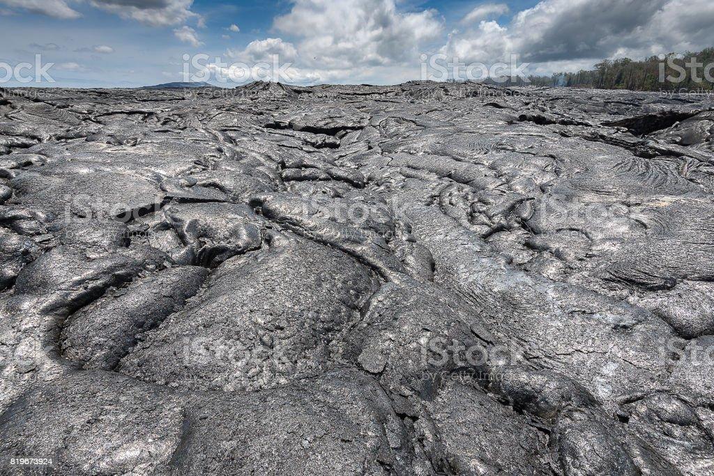 Lava field in Big Island, Hawaii stock photo