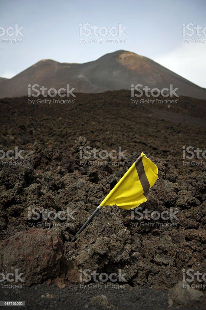 Lava field near Mount Etna stock photo