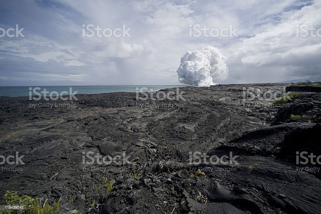 Lava Field View of Steam Cloud stock photo