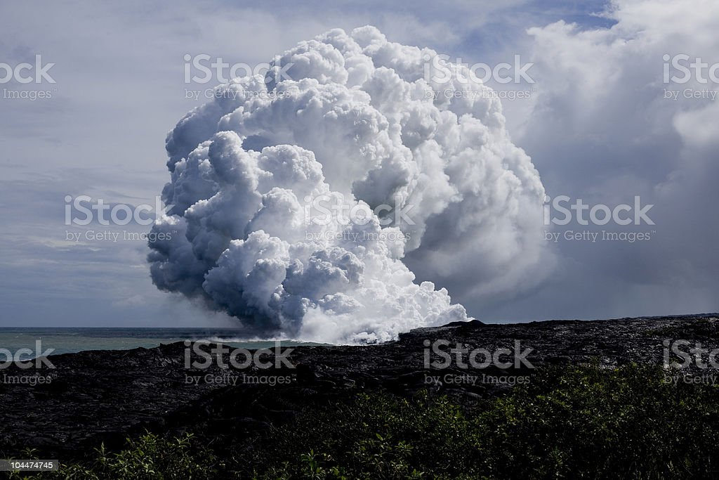 Lava Flow at Ocean stock photo