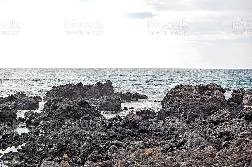 Lava Flow - coastline stock photo