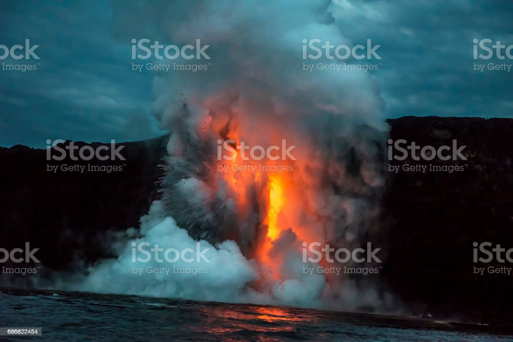 Lava flow in Hawaii stock photo