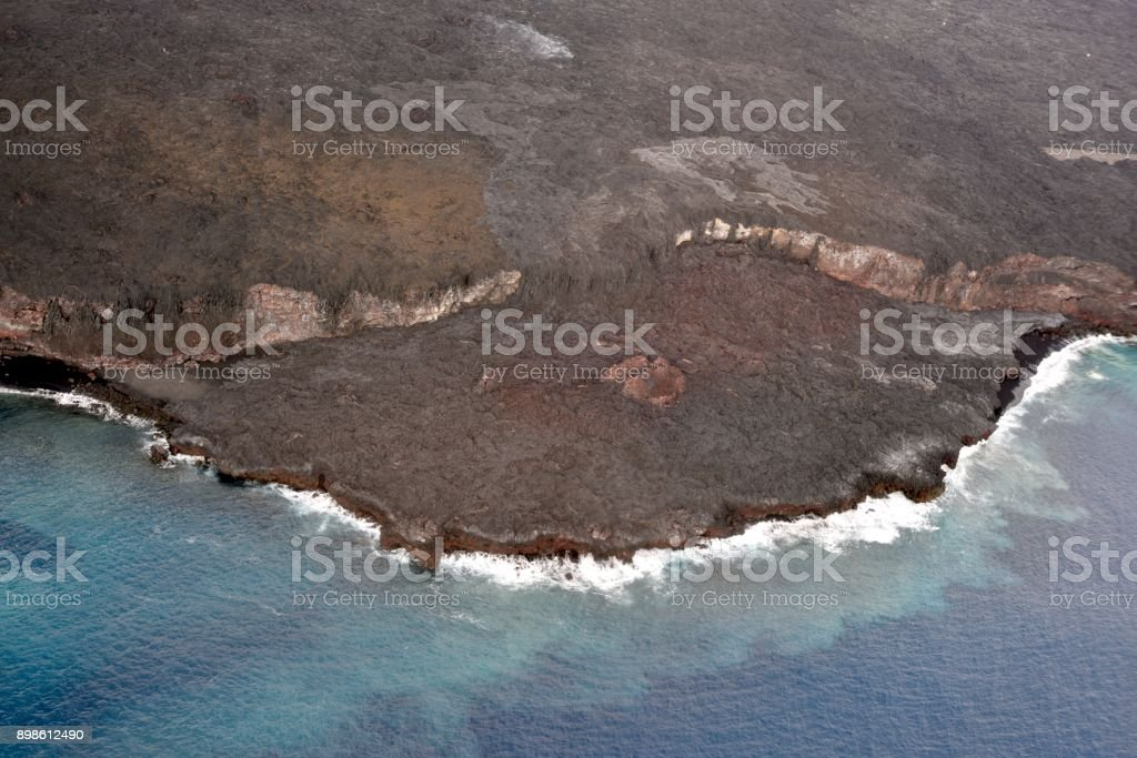 Lava Flow into Pacific Ocean stock photo