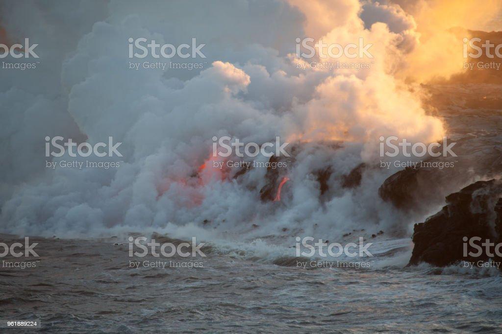 Lava flow ocean entry Big Island, Hawaii stock photo