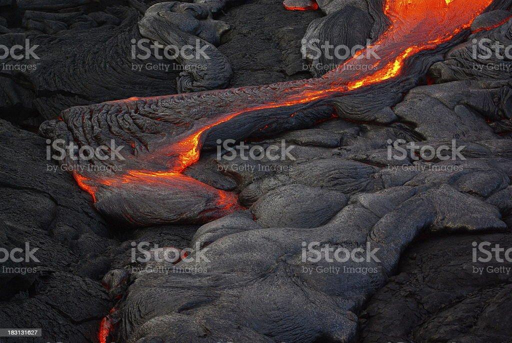 Lava flow on the Big Island of Hawaii stock photo