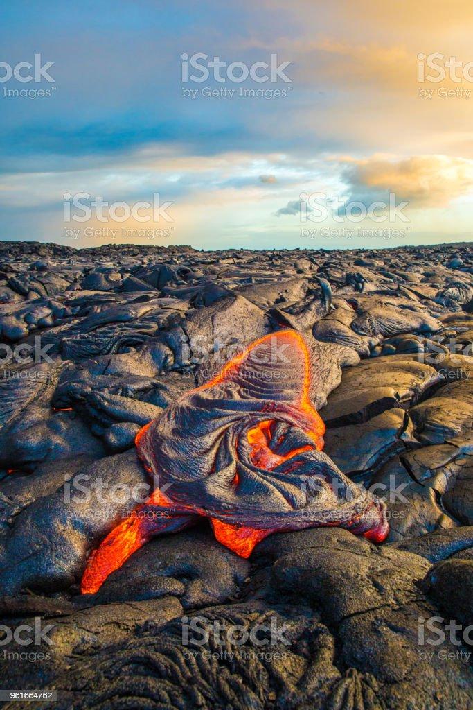 Lava flowing on Hawaii's Big Island stock photo