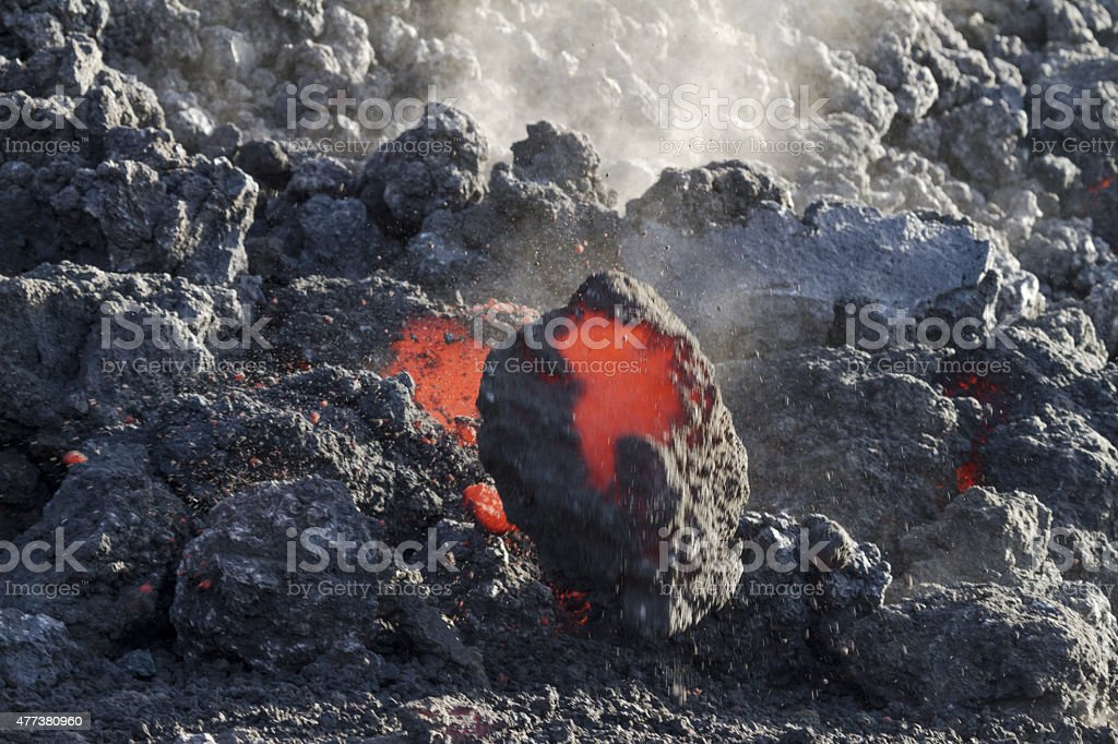 Lava flowing stock photo