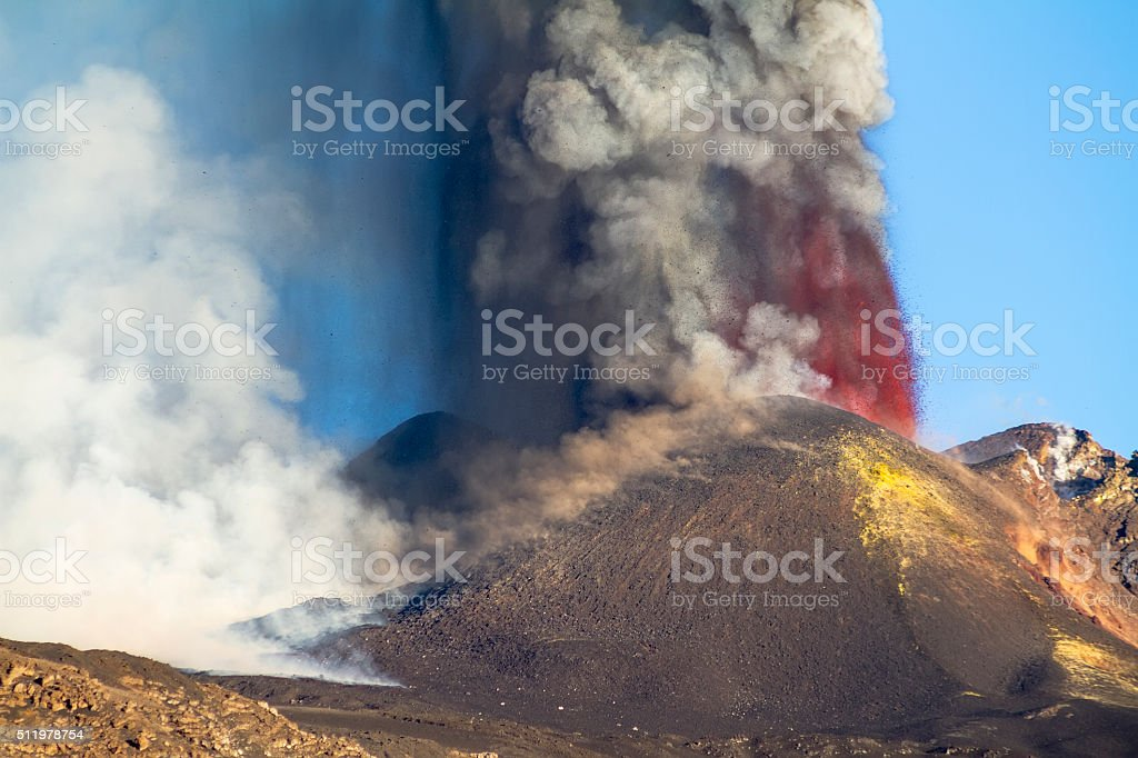 lava from one of the craters of Mount Etna stock photo