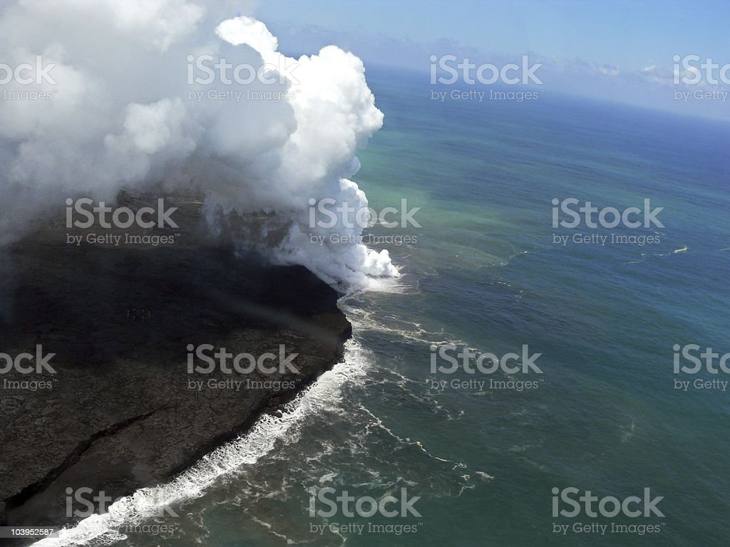 Lava in the ocean royalty-free stock photo
