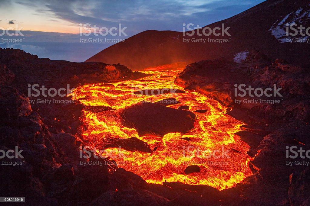 lava lake The lava lake of a volcanic eruption on Kamchatka Abstract Stock Photo