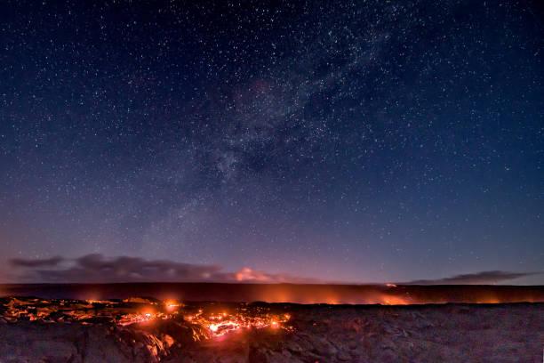 Lava landscape of Hawaii at night stock photo