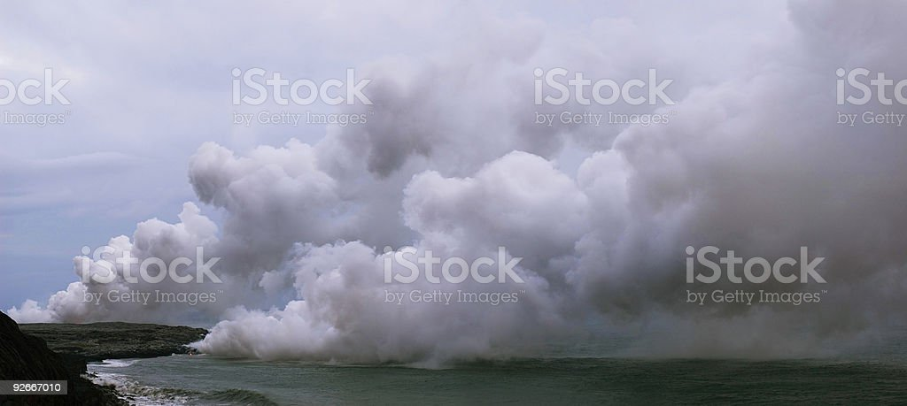 Lava meets ocean royalty-free stock photo