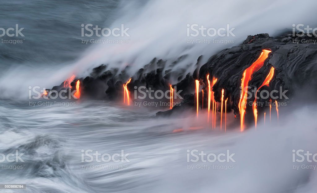 Lava Ocean Entry, Kilauea, Hawaii 免版稅 圖庫照片
