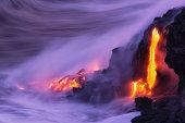 Lava ocean entry, Kilauea, Hawaii.
