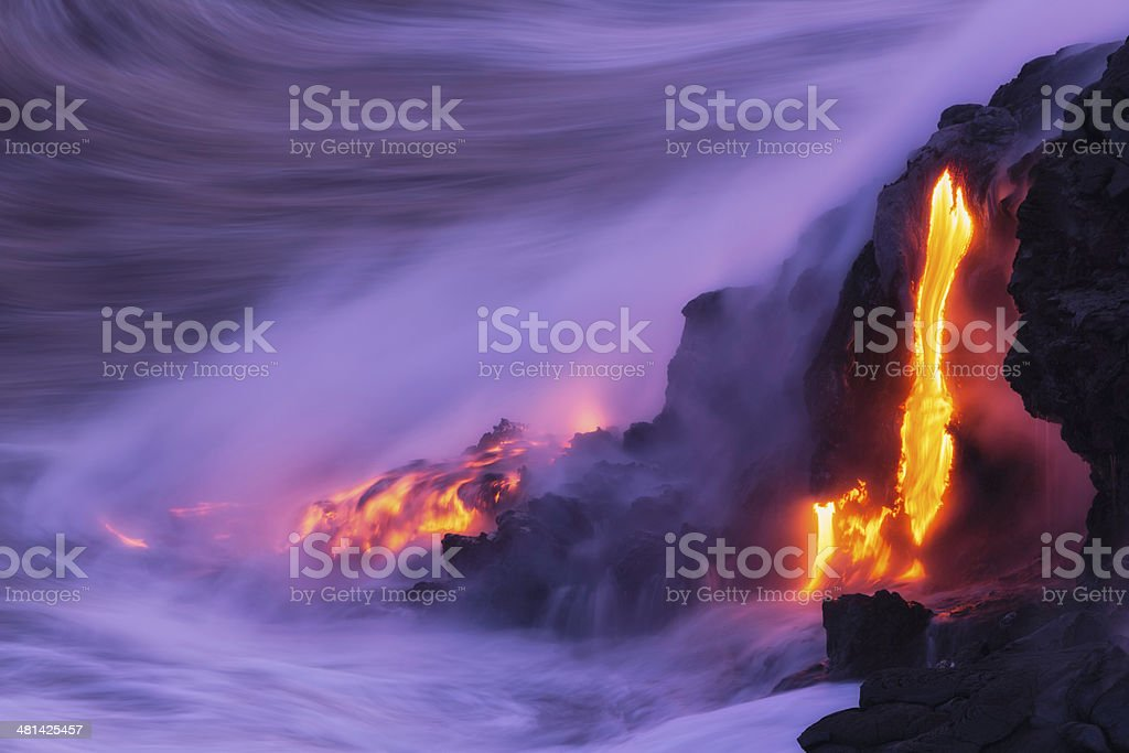 Lava Ocean Entry stock photo