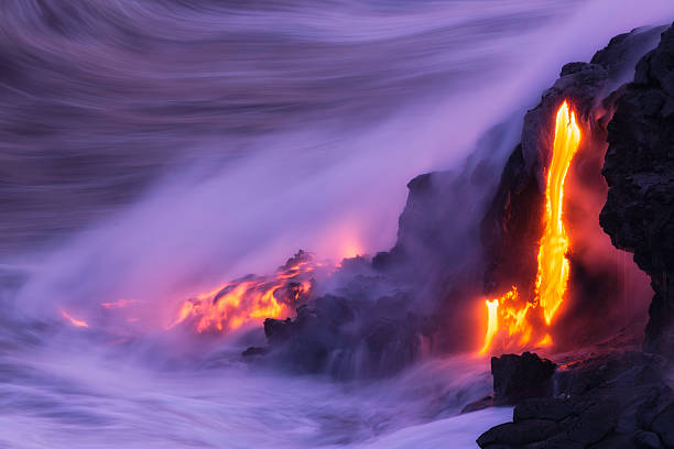Lava Ocean Entry Lava ocean entry, Kilauea, Hawaii. big island hawaii islands stock pictures, royalty-free photos & images