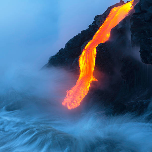 Lava Ocean Entry Lava ocean entry, Kilauea, Hawaii. lava stock pictures, royalty-free photos & images