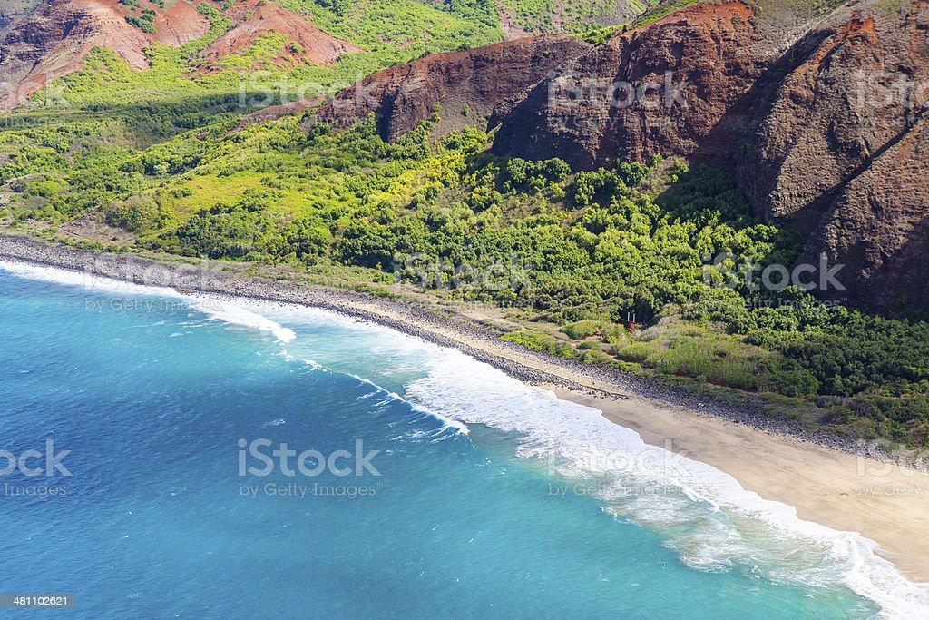 Lava rock formation on the shore in Kauai, Hawaii stock photo