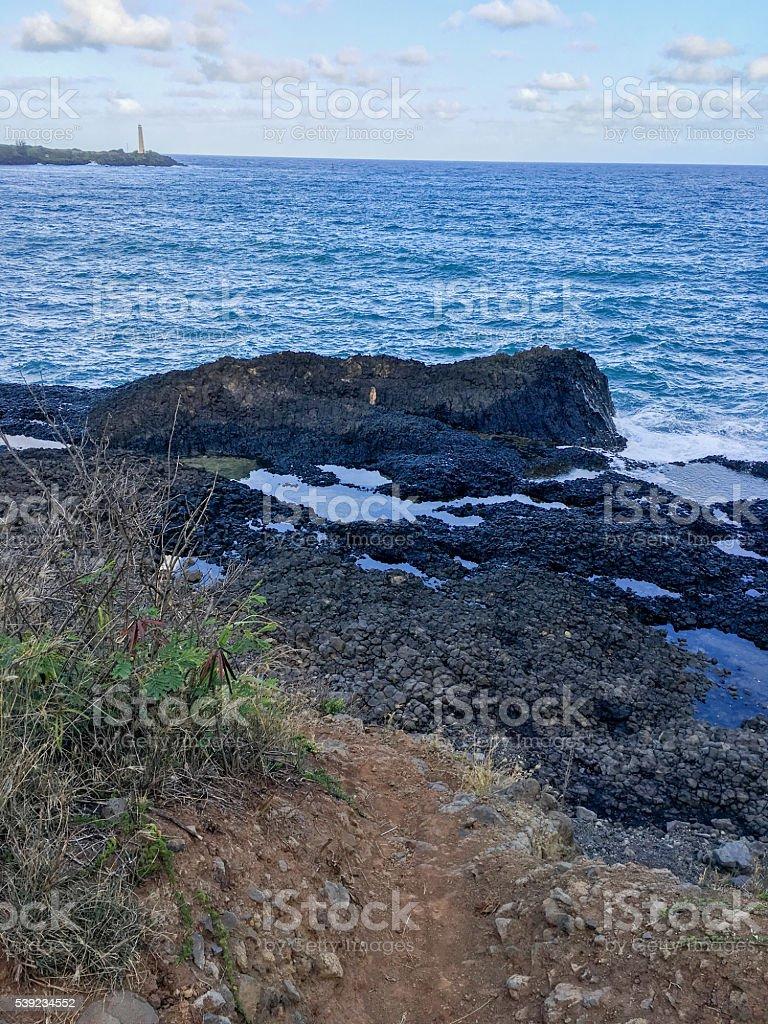 Rochas de Lava no Oceano Pacífico em Kauai foto royalty-free