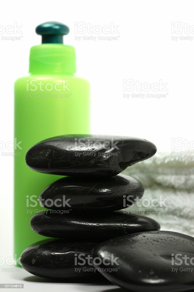 Lava Stones with Cosmetics and Towel royalty-free stock photo