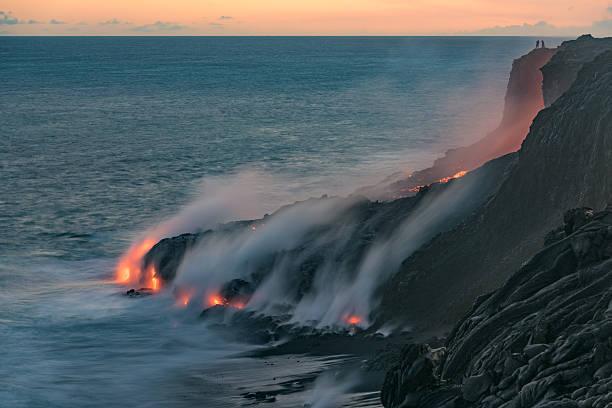 Lava stream of Kilauea volcano at dusk stock photo