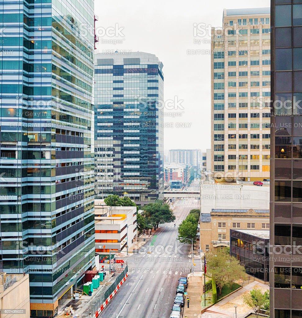 Lavaca street elevated view Austin Texas overcast morning stock photo