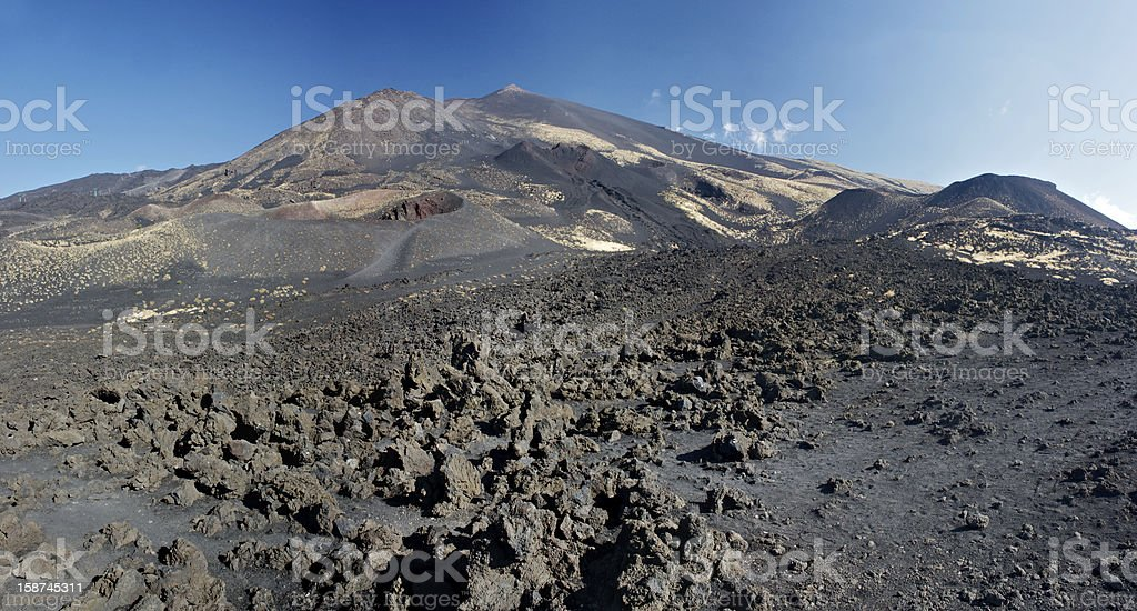 Lavaflow on the Mt. Etna's south side royalty-free stock photo
