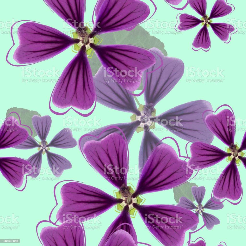 ハナアオイ属、アオイ科の植物、ウスベニアオイ。花のシームレス パターン テクスチャ。花の背景、写真のコラージュ - イラストレーションのロイヤリティフリーストックフォト