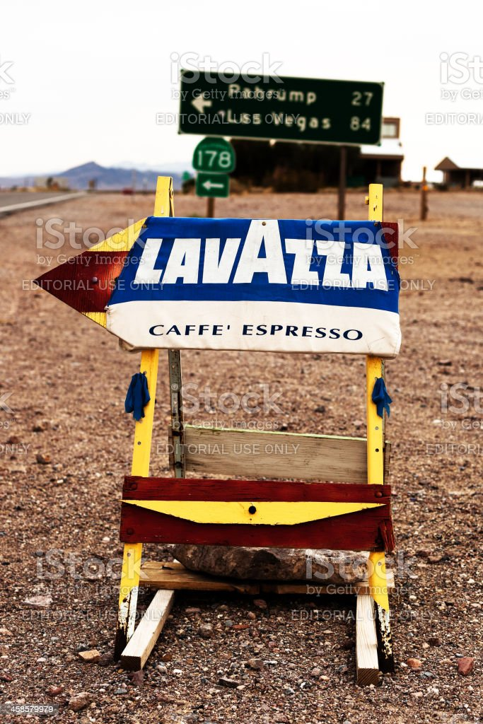 Lavazza Coffee Sign in Shoshone, California, USA royalty-free stock photo
