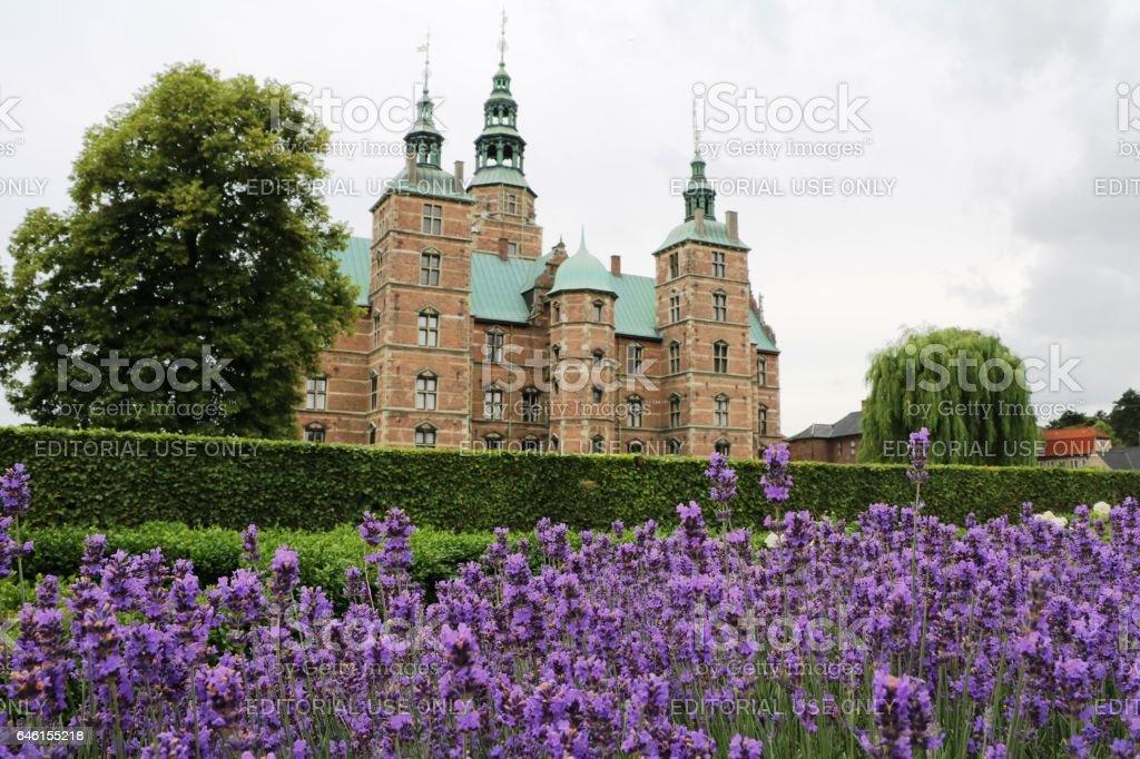 Lavedel view to the castle Rosenborg in Copenhagen, Denmark Scandinavia stock photo