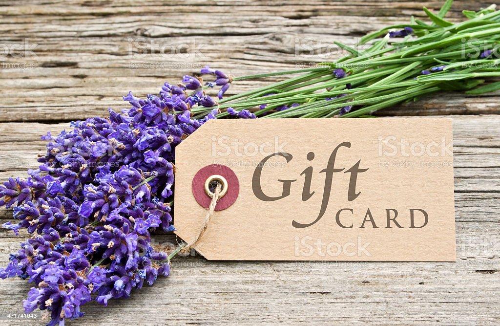 Lavendel und Geschenkkarte – Foto